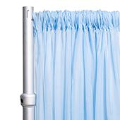 """*FR* Crushed Sheer Voile Curtain Panel by Eastern Mills w/ 4"""" Pockets - 10ft Wide - Baby Blue"""