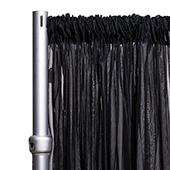 """10ft Wide Sheer Voile Curtain Panel w/ 4"""" Pockets by Eastern Mills - Black"""