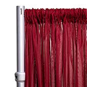 """*FR* 10ft Wide Sheer Voile Curtain Panel by Eastern Mills w/ 4"""" Pockets - Burgundy"""