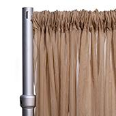 """*FR* Crushed Sheer Voile Curtain Panel by Eastern Mills w/ 4"""" Pockets - 10ft Wide - Caramel"""
