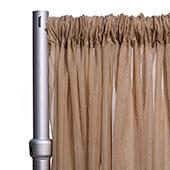 """10ft Wide Sheer Voile Curtain Panel w/ 4"""" Pockets by Eastern Mills - Caramel"""
