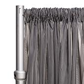 """*FR* Crushed Sheer Voile Curtain Panel by Eastern Mills w/ 4"""" Pockets - 10ft Wide - Dark Silver"""