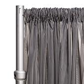 """*FR* 10ft Wide Sheer Voile Curtain Panel by Eastern Mills w/ 4"""" Pockets - Dark Silver"""