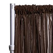 """10ft Wide Sheer Voile Curtain Panel w/ 4"""" Pockets by Eastern Mills - Dark Brown"""