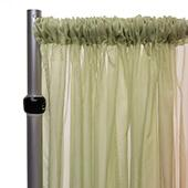 """10ft Wide Sheer Voile Curtain Panel w/ 4"""" Pockets by Eastern Mills - Fog Green"""