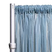 """*FR* Crushed Sheer Voile Curtain Panel by Eastern Mills w/ 4"""" Pockets - 10ft Wide - Grey Blue"""