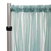 """*FR* 10ft Wide Sheer Voile Curtain Panel by Eastern Mills w/ 4"""" Pockets - Ocean"""