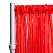 """10ft Wide Sheer Voile Curtain Panel w/ 4"""" Pockets by Eastern Mills - Red"""