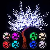 Lighted Grand Centerpiece or Floor Cherry Blossom LED Tree - AC Adapter - 700 LEDs - RGBW w/ Remote & Many Functions! - 6.5FT Tall