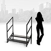 "IntelliStage - 24"" 2-Step Fixed Stairs with Wheels & Handrails"