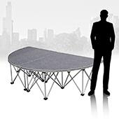 IntelliStage - Lightweight 4'x8' Half-Circle Portable Stage - Platform & Riser Set - Carpet Top