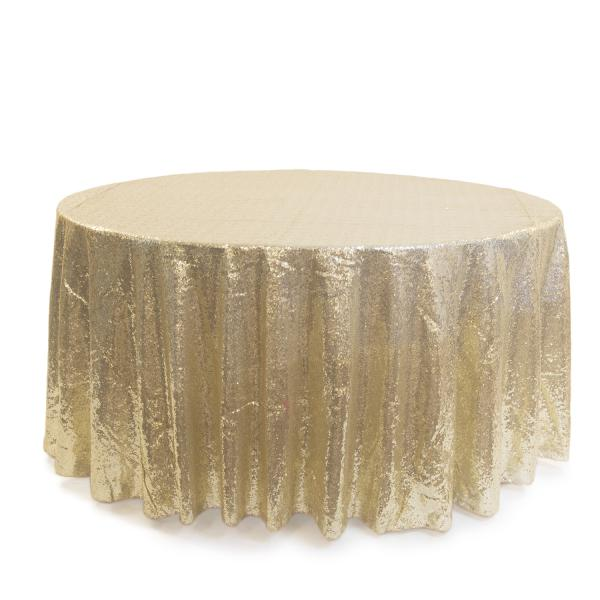 51edb75a3b7ca Light Gold Round Sequin Tablecloth by Eastern Mills - 126 Round