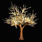 Lighted Cherry Tree - AC Adapter - 2400 LEDs - Warm White - 10FT Tall
