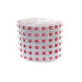 DISCONTINUED ITEM - DecoStar™ Rose and Silver Patterned Rhinestone Mesh - 30 Foot Roll