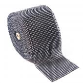 DISCONTINUED ITEM - DecoStar™ Gun Metal and Silver Rhinestone Mesh - 30 Foot Roll