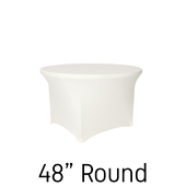 "200 GSM Grade A Quality 48"" Round Spandex Table Cover - Ivory"
