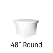 "200 GSM Grade A Quality 48"" Round Spandex Table Cover - White"