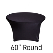 "200 GSM Grade A Quality 60"" Round Spandex Table Cover - Black"