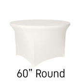 "200 GSM Grade A Quality 60"" Round Spandex Table Cover - Ivory"