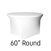 "200 GSM Grade A Quality 60"" Round Spandex Table Cover - White"