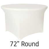"200 GSM Grade A Quality 72"" Round Spandex Table Cover - Ivory"