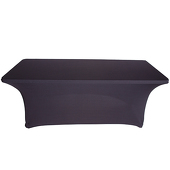 OVERSTOCK - 8ft Banquet 200 GSM Grade A Quality Spandex Table Cover - Black - LOT OF 10