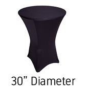 "200 GSM Grade A Quality Spandex Hi-Boy Table Cover - Black - Cocktail Table - 30"" Diameter"