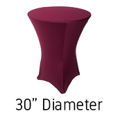 "200 GSM Grade A Quality Spandex Hi-Boy Table Cover - Burgundy - Cocktail Table - 30"" Diameter"
