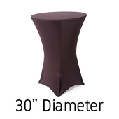 "200 GSM Grade A Quality Spandex Hi-Boy Table Cover - Chocolate Brown - Cocktail Table - 30"" Diameter"