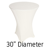 "200 GSM Grade A Quality Spandex Hi-Boy Table Cover - Ivory - Cocktail Table - 30"" Diameter"