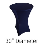 "200 GSM Grade A Quality Spandex Hi-Boy Table Cover - Navy Blue - Cocktail Table - 30"" Diameter"