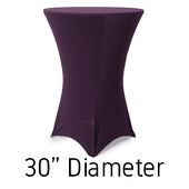 "200 GSM Grade A Quality Spandex Hi-Boy Table Cover - Plum - Cocktail Table - 30"" Diameter"