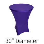 "200 GSM Grade A Quality Spandex Hi-Boy Table Cover - Purple - Cocktail Table - 30"" Diameter"
