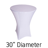 "200 GSM Grade A Quality Spandex Hi-Boy Table Cover - White - Cocktail Table - 30"" Diameter"