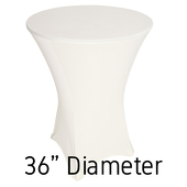 "200 GSM Grade A Quality Spandex Hi-Boy Table Cover - Ivory - Cocktail Table - 36"" Diameter"