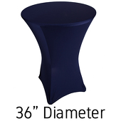 "200 GSM Grade A Quality Spandex Hi-Boy Table Cover - Navy Blue - Cocktail Table - 36"" Diameter"
