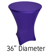 "200 GSM Grade A Quality Spandex Hi-Boy Table Cover - Purple - Cocktail Table - 36"" Diameter"