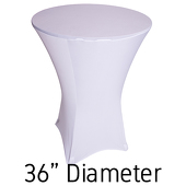 "200 GSM Grade A Quality Spandex Hi-Boy Table Cover - White - Cocktail Table - 36"" Diameter"
