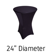 "200 GSM Grade A Quality Spandex Hi-Boy Table Cover - Black - Cocktail Table - 24"" Diameter"