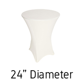 "200 GSM Grade A Quality Spandex Hi-Boy Table Cover - Ivory - Cocktail Table - 24"" Diameter"