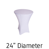 "210 GSM Grade +A Best Quality/Best Value Quality 24"" Hi-Boy - Spandex Table Cover - White - Cocktail Table - 24"" Diameter"
