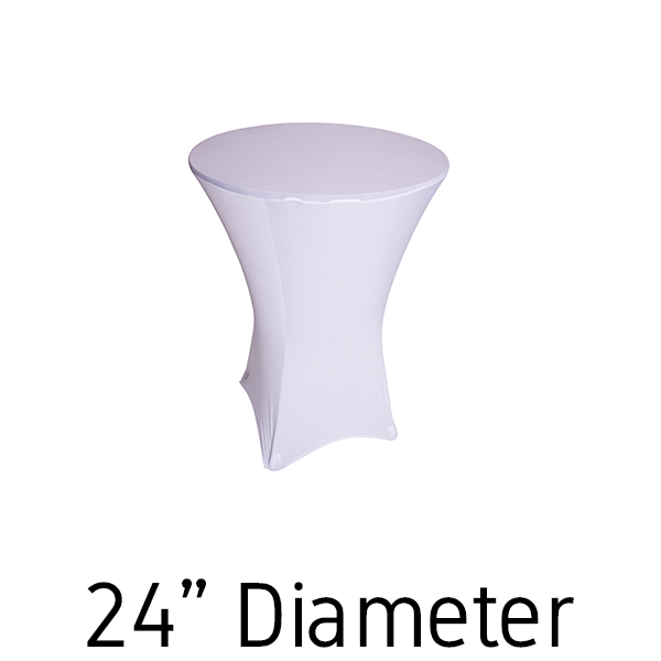 225 & 200 GSM Grade A Quality Spandex Hi-Boy Table Cover - White - Cocktail Table - 24\