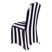 Striped Spandex (Lycra) Banquet & Wedding Chair Cover By Eastern Mills in Black and White