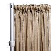 """*FR* Crushed Sheer Voile Curtain Panel by Eastern Mills w/ 4"""" Pockets - 10ft Wide - Taupe"""