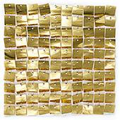 Easy Connect Shimmer Wall Panels w/ Transparent Grid Backing & Square Sequins - 12 Tiles - Light Gold