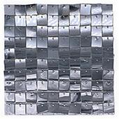 Easy Connect Shimmer Wall Panels w/ Transparent Grid Backing & Square Sequins - 12 Tiles - Silver