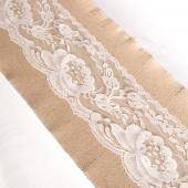 "Burlap and Lace Table Runner - 12"" x 108"" (Lace in Middle)"