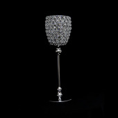 "DecoStar™ Real Crystal & Chrome Goblet/Candle Holder - 17"" Tall"