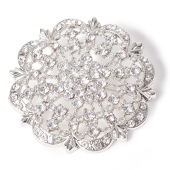 DecoStar™ Diamond Encrusted Antique Brooch - Silver