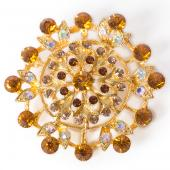 DecoStar™ Iridescent Diamond Encrusted Firework Brooch in Gold